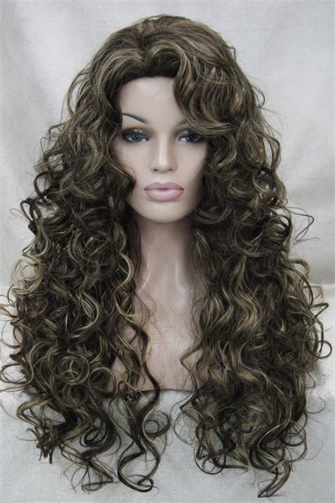 Daily Wig Rws 04 xiuli 0002661 medium brown with highlight curly synthetic hair daily wig in