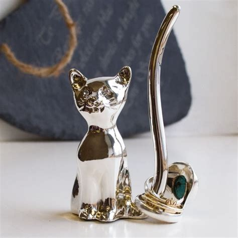 silver cat ring holder find me a gift