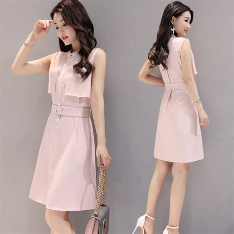 dress style korea brukat 2017 summer new korean fashion simple waist sleeveless
