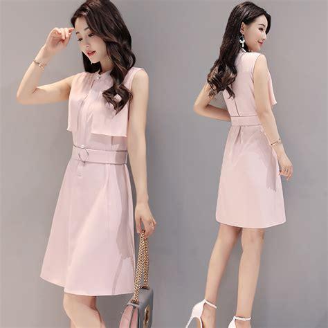 Dress Dress Korea Putih White 1 2017 summer new korean fashion simple waist sleeveless dress color belt decoration slim skirt
