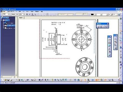 section view catia 5 2 lagerdeckel 1 catia v5 drafting section view youtube