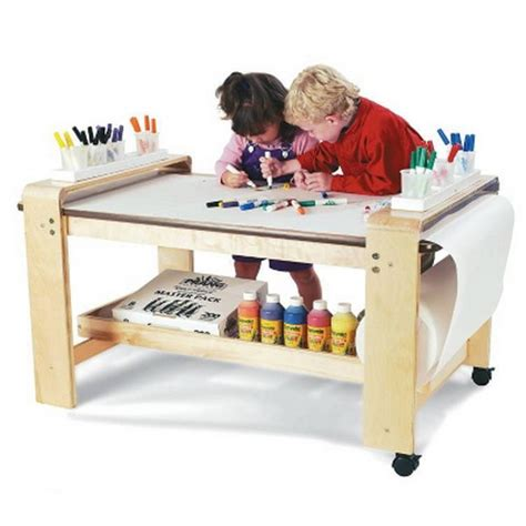 childrens art desk new big wooden kids art table birch wood paper roll holder