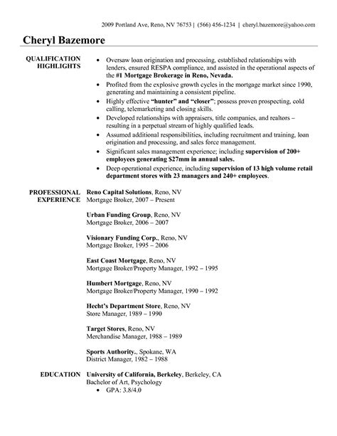 Mortgage Broker Description Resume commercial real estate sle resume marketing