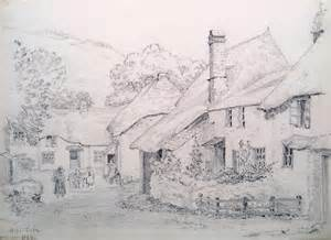 late 19th century pencil sketch of hope cove devon dated 1899
