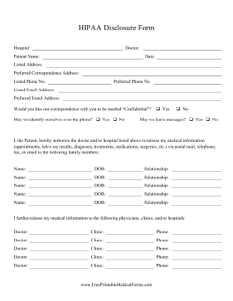 Printable Hipaa Disclosure Form Hipaa Release Form Template