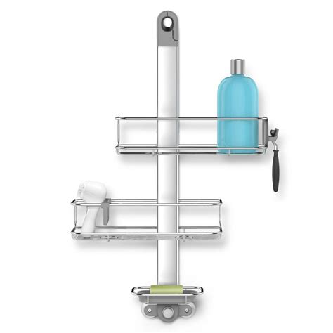 simplehuman 3 tier adjustable shower caddy in aluminum and
