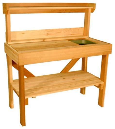 cedar potting bench with sink cedar wood potting bench with sink traditional potting