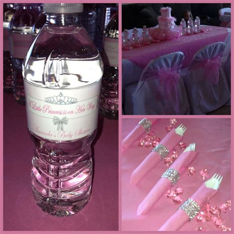 Princess Themed Baby Shower Favors by Personalized Water Bottle Label And Bling Napkin Rings