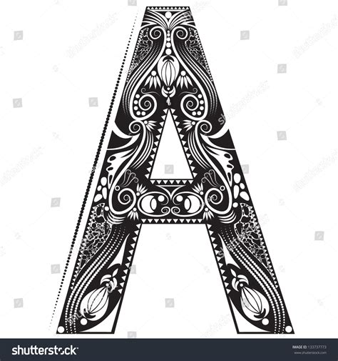vector illustration of an alphabet letter in graphic style with ornaments letter a