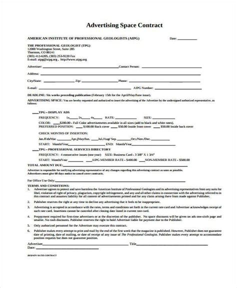 Sle Advertising Contract Forms 8 Free Documents In Word Pdf Advertising Contract Template Word