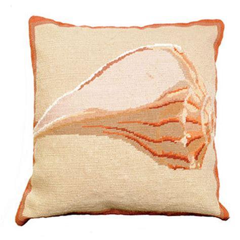whelk shell needlepoint pillow