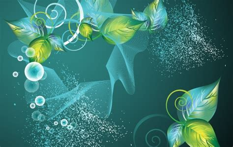 abstract green swirl floral vector background vector