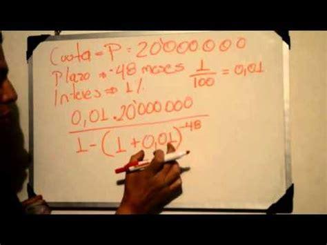 como calcular un prstamo youtube como calcular la cuota de un prestamo youtube