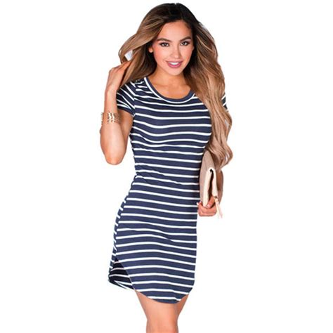 Pakaian Letty Hoodie Stripy White Navy Dress cfanny 2016 new summer dress navy white striped sleeve tunic t shirt dress
