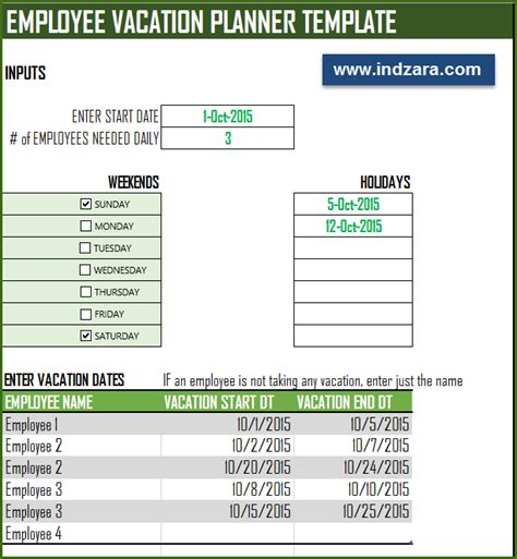 vacation template excel employee vacation planner free hr excel template for