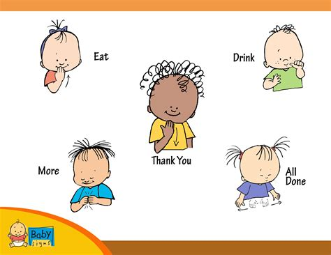 Baby Signs A Baby Speaking With Sign Language Board Book placemat poster with signs for eat drink thank you more and all done babysigns