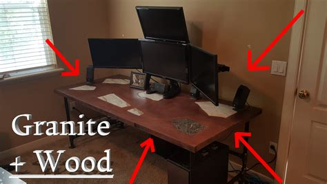 granite inlaid solid wood computer gaming desk diy