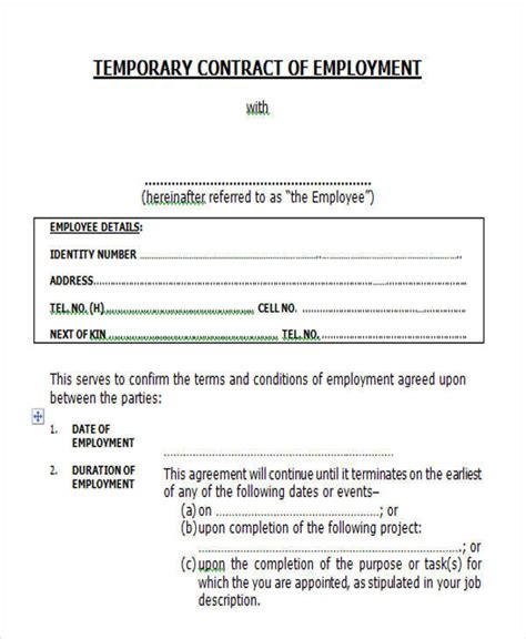 temporary employment contract template free 46 sle contract templates