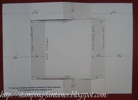 8x14 Trifold Card Template by Floral Fantasies Tri Fold Card Tutorial