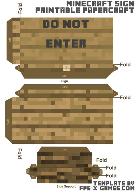 Minecraft Papercraft Templates - minecraft papercraft do not enter sign template cut out