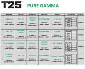 Calendario T25 Gamma Gamma Workout Schedule Focus T25 Workout