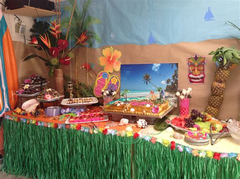 hawaiian theme cake set up parties ideas pinterest