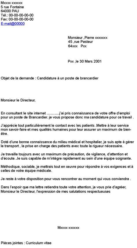 Lettre De Motivation Candidature Spontanée Brancardier Candidature 224 Un Poste De Brancardier