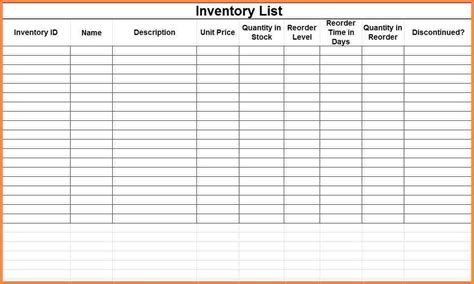 printable blank inventory spreadsheet inventory spreadshee