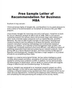 Mba Recommendation Letter Exles