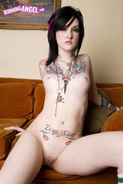 Burning Angel Tattooed Brunette Stripping At Amateurindex Com