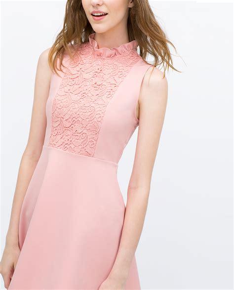 Pink Zara Dress zara combined dress in pink lyst