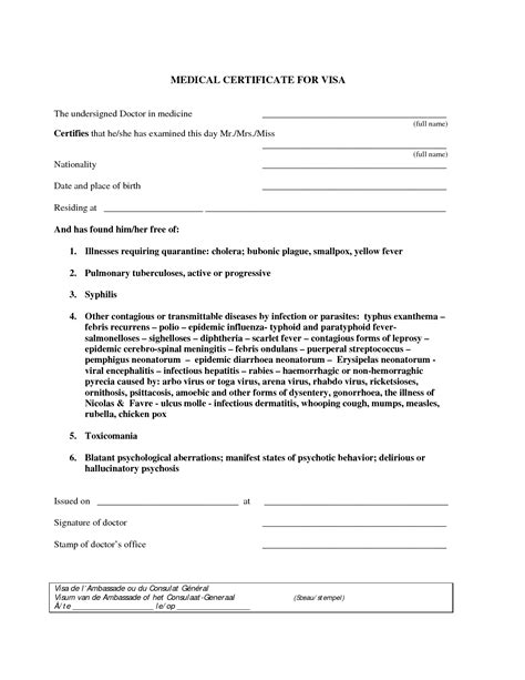 8 free sample medical certificate templates printable samples
