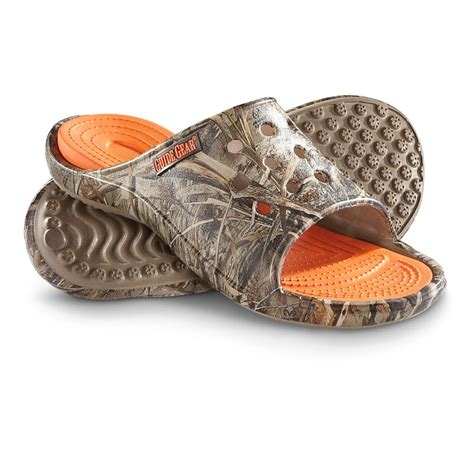 mens camo sandals guide gear s afton ii camo slide sandals realtree max