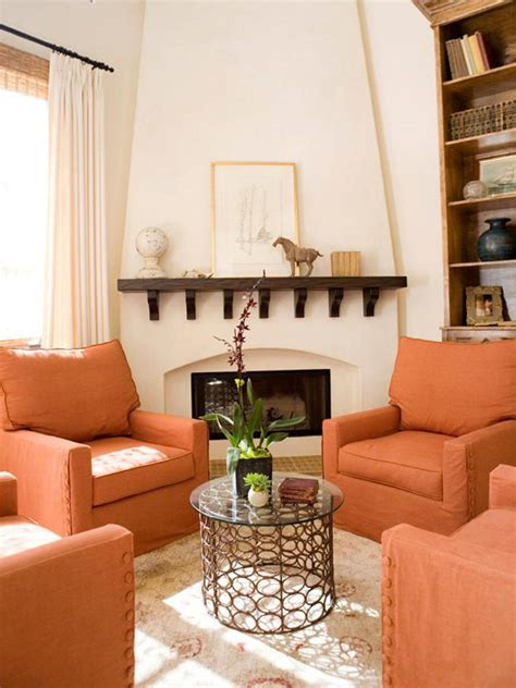 Orange Living Room Chairs | orange design ideas color palette and schemes for rooms