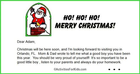 printable christmas eve letter from santa free printable letter from santa for kids