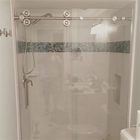 Barn style glass shower doors the glass shoppe a ision of builders glass of bonita inc