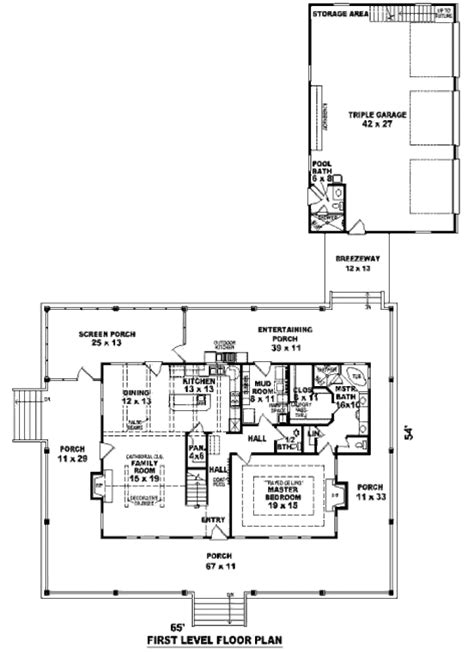 3 feet plan southern style house plan 3 beds 3 baths 2300 sq ft plan