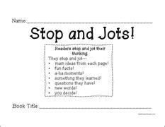stop reading a strategy to read less and comprehend more books stop and jot an easy way to assess informational text