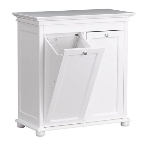Freestanding Kitchen Cabinet by Hampton Harbor 26 In Double Tilt Out Hamper In White