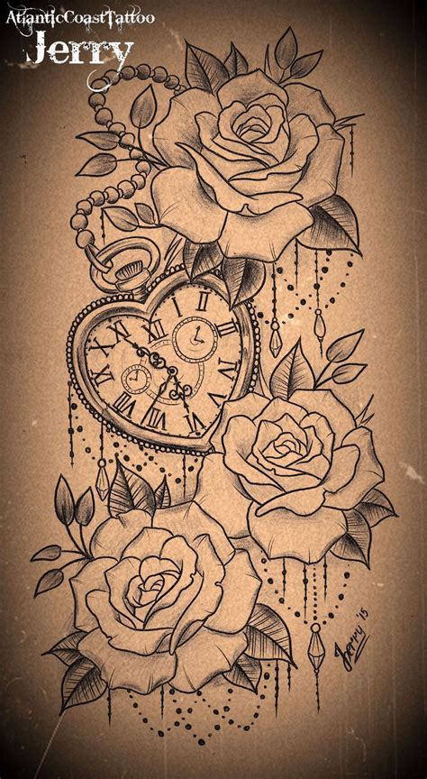 tattoo flower clock tatto ideas 2017 heart shaped pocket watch and roses