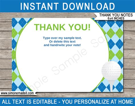 Printable Golf Party Thank You Note Cards Golf Birthday Party Theme Reception Thank You Card Template