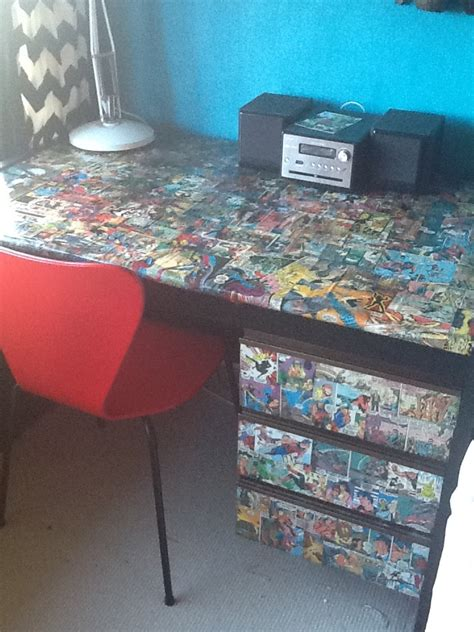 Decoupage A Desk - decoupage desk made fabulous for a comic
