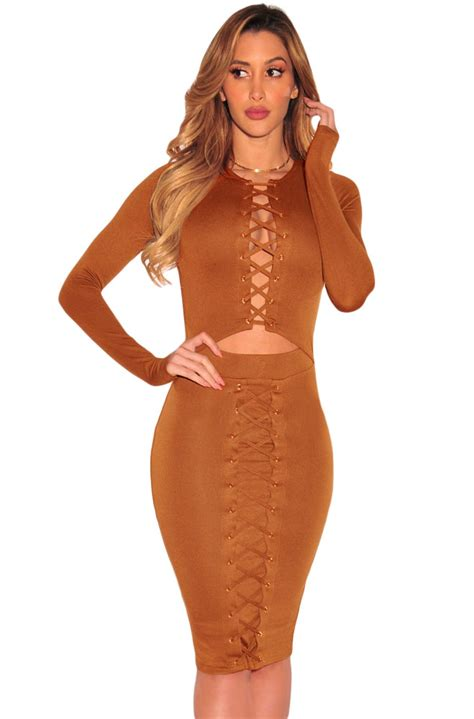 Dress Midi Mini Gaun Spandek Set Cardigan Polos Resmi Formal Kerja us 7 59 brown lace up cut out sleeves bodycon dress dropshipping