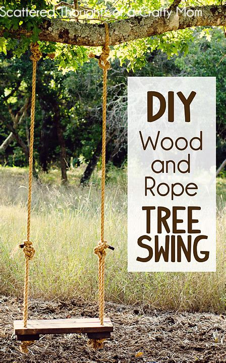 How To Make A Rustic Rope And Wood Tree Swing Scattered