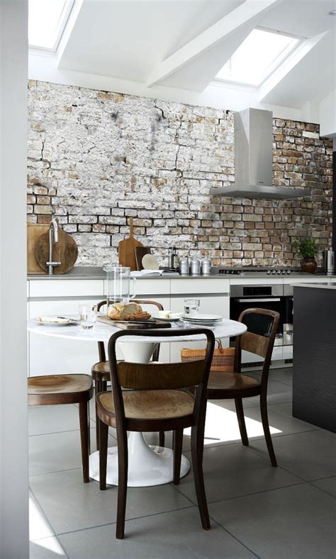 hot kitchen design trends set to sizzle in 2015 aged brick wall wallpaper in the kitchen combines two hot