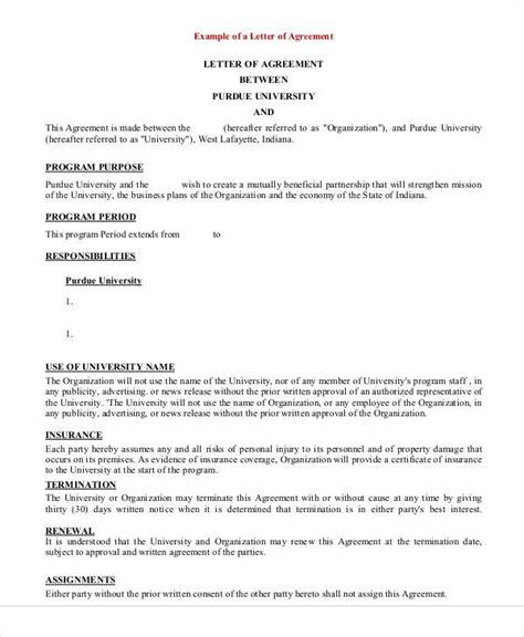 simple business agreement letter agreement letter exles
