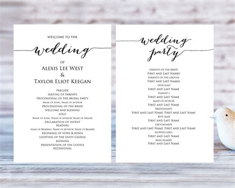 program template wedding program templates 183 wedding templates and printables