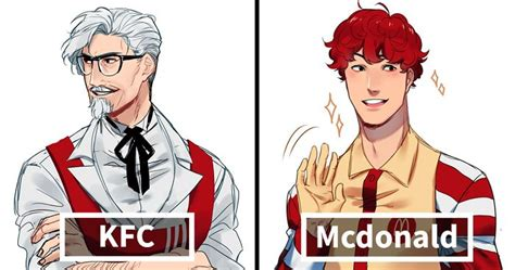 Most Famous Architecture illustrator reimagines fast food mascots as anime