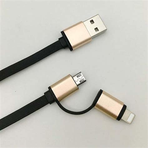Mobile Phone Cable 2 in 1 aluminum micro usb cable 1m charging mobile phone
