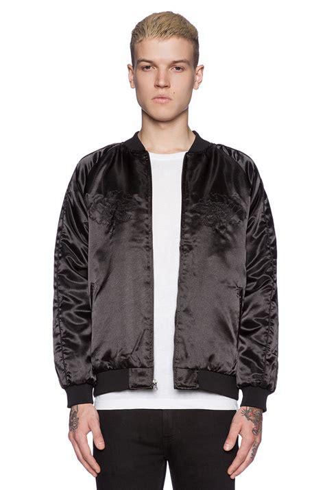 Jaket Bomber Trasher huf x thrasher satin souvenir jacket in black for lyst